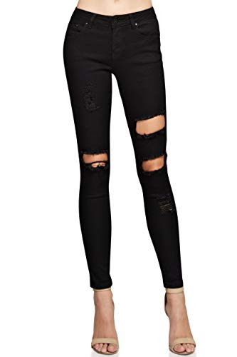 Monkey Ride Jeans Women's Classic Stretch Distressed Denim Juniors Mid Rise Skinny Jeans 7, ()