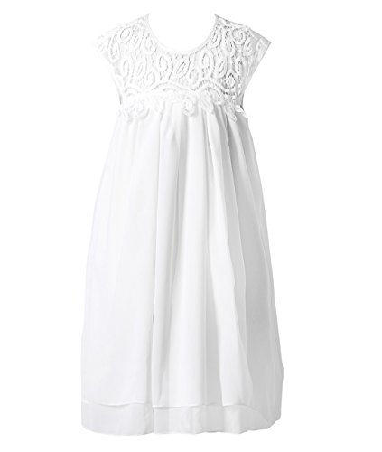 Funtrees Girl Lace Chiffon Vintage Dance Dress Maxi Gown Toddler Dress Size 6-7T (Girls Lace White Dress)