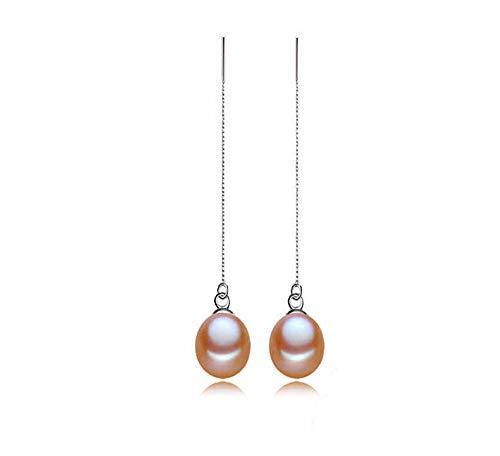 Rakumi 7-8mm Oval Pink Freshwater Pearl Dangle Earrings Women Earrings Threader Dangle Drop Earrings