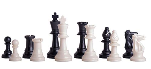 - US Chess Federation's Triple Weighted Tournament Staunton Plastic Chess Pieces - 3.75