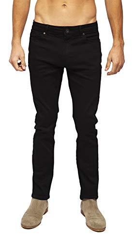 Heels & Jeans Mens Skinny Jeans Pants Comfy Stretch Stylish Slim Fit Denim (Black, 38)