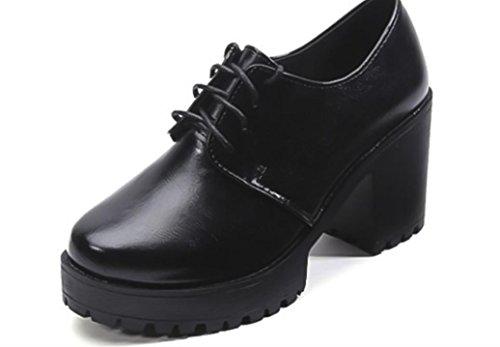 Bouche Printemps XDGG British Cross hauts Basse Strap Avec Talons Simple Chaussures Etanche Femmes Chaussures Épais 39 pwp5nrxqI