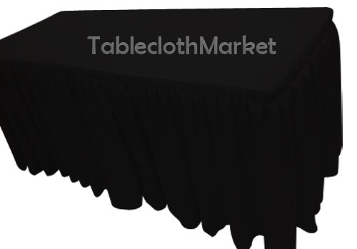 6' Ft. Fitted Tablecloth Double Pleated Polyester Table Skirt Cover W/top Topper Black