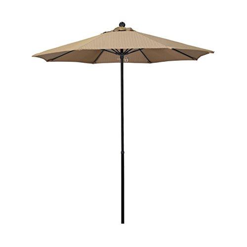 - California Umbrella 7.5' Round 100% Fiberglass Frame Market Umbrella, Push Lift, Black Pole, Terrace Sequoia Olefin