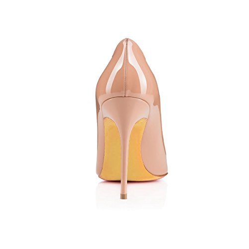 Toe Women's Stiletto Heels Patent Pumps Sandals Shoes Slip Big High Court Ubeauty Pointed Nude Size On YdRqY