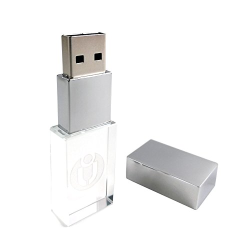 USB Flash Drive Crystal Thumb Drive flashdrive Glass Transparent USB2.0 Pendrive LED Light Memory Stick (16GB, Transparent) (Best Usb For Djing)