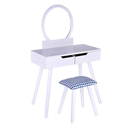 Sonmer Vanity Set with Mirror, Cushioned Stool, Storage Shelves, Drawers Dividers ,3 Style Optional, Shipped from US - Two Day Shipping (#2, White) by Sonmer (Image #8)