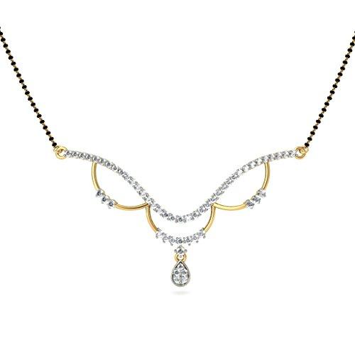 14K Or jaune 1CT TW White-diamond (IJ   SI) Mangalsutra
