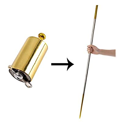 "blue-ther 43.30""/110cm Black Metal Appearing Cane with Free Gloves and Video Turorial, Pocket Bo Staff Magic Wand Stage Close-up Magic Trick (Gold-Silver): Toys & Games"