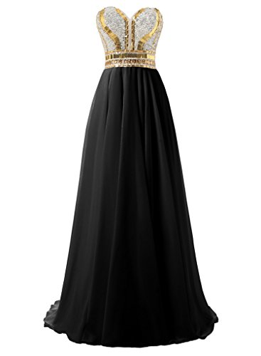 Dressytailor A Line Sweetheart Gold Sparkle Long Chiffon Prom Evening ()