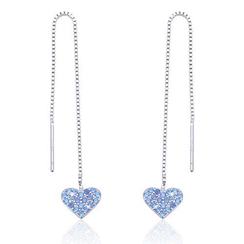 925 Sterling Silver Threader Earrings Long Chain Linear Link Dangle Blue CZ sparkling Love Heart Earrings for Women