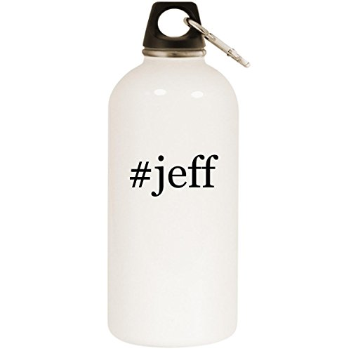 Molandra Products #Jeff - White Hashtag 20oz Stainless Steel Water Bottle with Carabiner (Best Of Jeff Stryker)