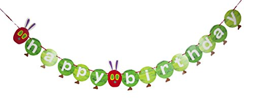 World of Eric Carle, The Very Hungry Caterpillar Party Supplies, Happy Birthday Garland Decoration, Paper, 3M]()