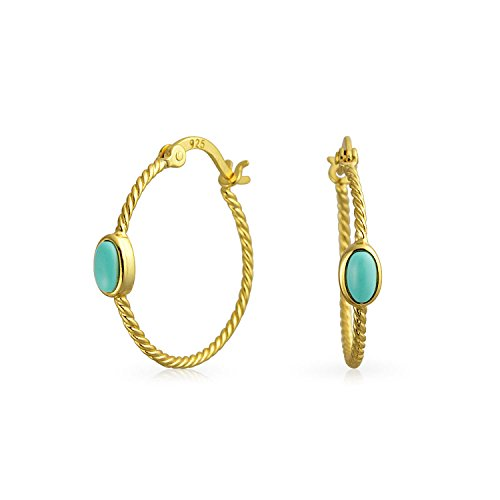 Twisted Cable Rope Thin Hoop Earrings Turquoise Accent for Women 14K Gold Plated 925 Sterling Silver .75 Inch Dia