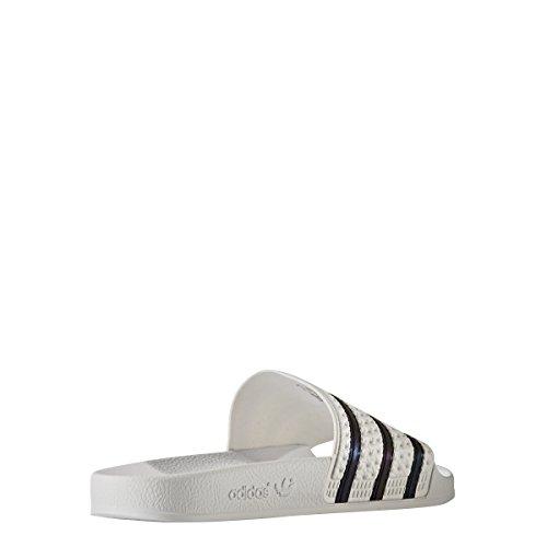 Adidas Menns Adilette Lysbilde Sandal Hvit / Svart Bb0117