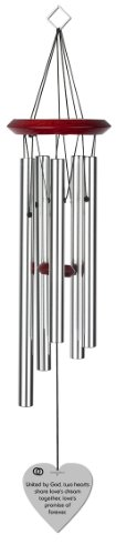 Chimesofyourlife wed-two hearts-heart-19-silver Two Hearts Wedding Wind Chime, 19-Inch, Silver