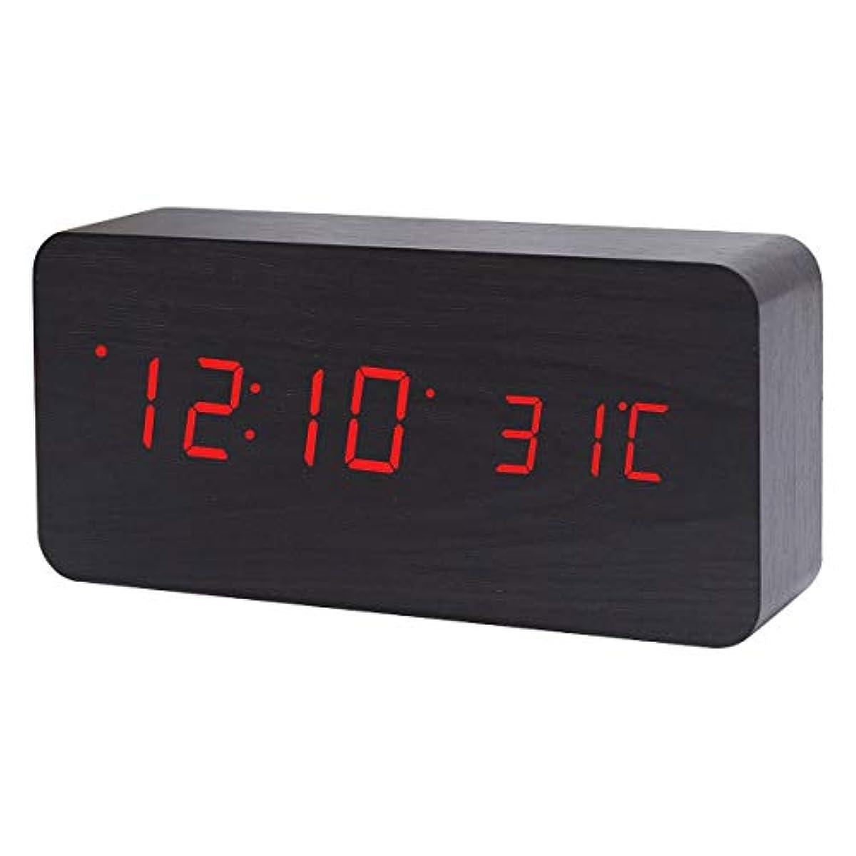 [해외] ZAZ 우드 그레인 LED시계 3개의 알람 기능 첨부 와 탁상시계 음성 반응 기능 날짜온도 표범시 에너지 절약 모드 일본어 취급 설명서 첨부 와 〔사이즈대블랙/LED레드〕 TOKEI-A-021