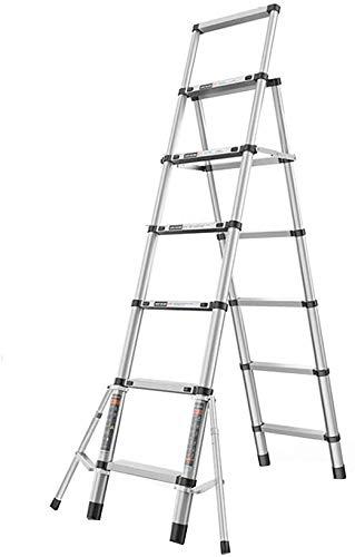 はしご アルミ台 伸縮はしご アルミ合金伸縮はしご、スタビライザーバー、多目的(負荷容量150キロ)で折りたたみ拡張ラダーA-フレーム 便座とフレーム (Size, 5-step ladder),6-step ladder