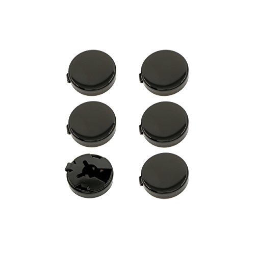 Ms.Iconic 15MM Gun Black Round Cuff Button Cover Cuff Links for Wedding Formal Shirt 6pcs/set (Gun Black)