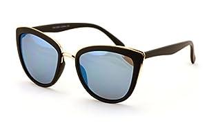 V.W.E. Womens Cat Eye Mirrored Reflective Lenses Oversized Cateyes Sunglasses