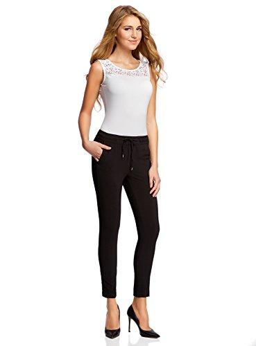 oodji Ultra Mujer Pantalones con Cinturón Elástico con Inserciones de Encaje Negro (2900N)
