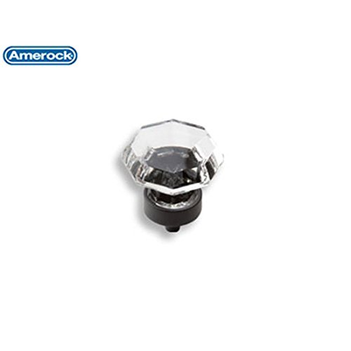 Amerock Traditional Classics 1-1/4 in. (32mm) Cabinet Knob Crystal/Black Bronze - BP55268CBBR Amerock Traditional Classics Crystal