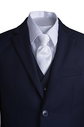 Boys Navy Blue Slim Fit Communion Suit with Vest & White Clergy Tie (10 Boys) by Tuxgear (Image #7)