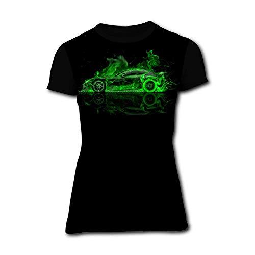 KANGQIAN-47 Women's Super Green Fire Car 3D Print Classic Short Sleeve T-Shirt]()