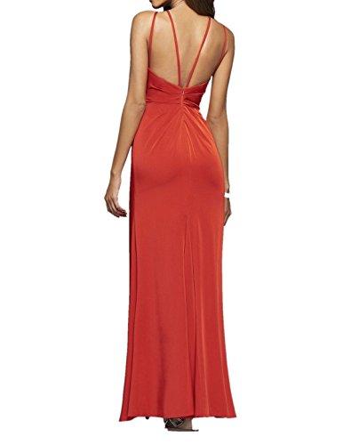 Charmant Damen Rot Chiffon Brautjungfernkleider Abendkleider Ballkleider Etuikleider festlichkleider