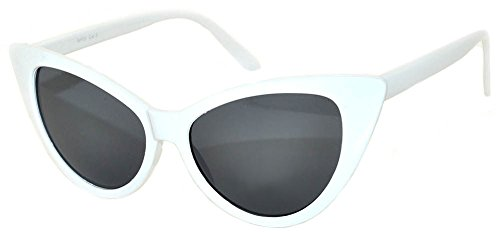 Cat Eye Vintage White Frame Smoke Lens Sunglasses