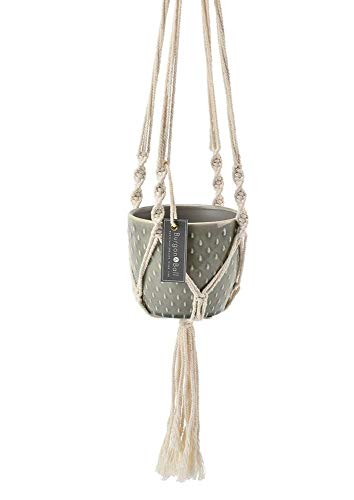 Burgon & Ball Glazed Hanging House Plant Pot in Macrame Design | Glazed Sage Green Dimple Hanging Planter ()