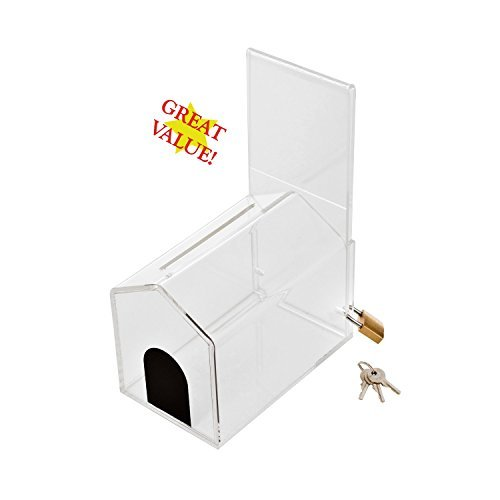 MCB - Small House Shape - Coin Collection Box - Acrylic Box - Tip Container - Ballot Box - With Pad Lock