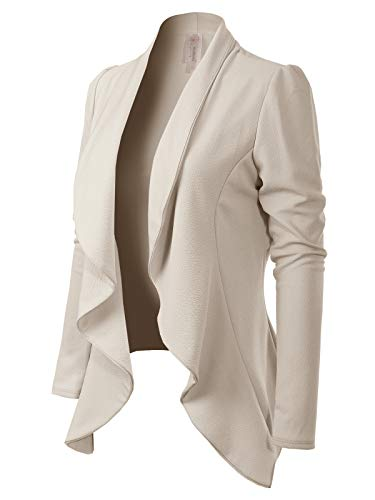 MixMatchy Women's [Made in USA] Solid Formal Style Open Front Long Sleeves Blazer (S-3X) Ivory M ()