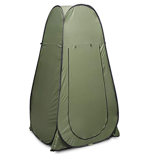 Flexzion Pop Up Dressing Tent, Portable Shower Fitting Changing Room for Indoor Outdoor Privacy Photo Studio Camping Hiking Beach Park Mountain Area with Carrying Bag, Olive Green by Flexzion