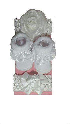 Girls Christening Booties (Newborn Baby Girl Christening Baptism Gift Socks with 2 White Floral Headbands)
