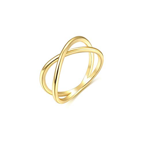 Womens 14k Gold Starking Rings,Double X Criss Cross Open Bar Double Bar Parallel Cuff Half Circle Infinity Adjustable Ring Engagement Wedding Lady Girls Band(Ring-X-5) (Cross Cross Gold Ring)