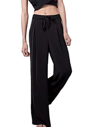 De Mujeres Casual Sueltos Pantalones Negro Las Con Corbata wPFpHqE