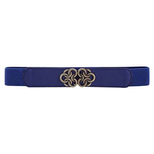 Damara Cinch Blue Interlocking Flower Buckle Band Women Belt Metal Stretch aaUv6