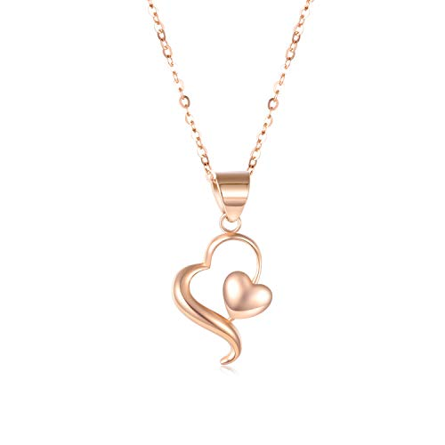SISGEM 18k Gold Heart Necklace for Women,Solid Rose Gold Chain with Pendant, Fine Jewelry 18