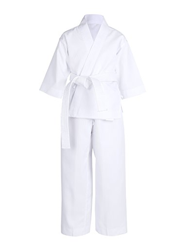iEFiEL Kids Karate Student Uniform Lightweight Jacket Pants with White Belt Training Clothing Outfit White 1/ Kids 8-10