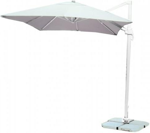 RMT - Sombrilla 3 x 3 de aluminio, brazo lateral, color blanco: Amazon.es: Jardín