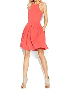 Womens Pleated Halter Casual Dress