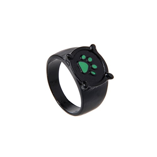 Black Noir Ring (UJuly Miraculous Ladybug Cat Ring Black Cartoon Green Pawprint Black Cat Ring for Cosplay)