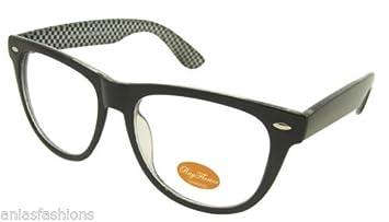 New Black Geek Nerd Vintage Retro Style Clear Lenses Glasses by Rayflector UK
