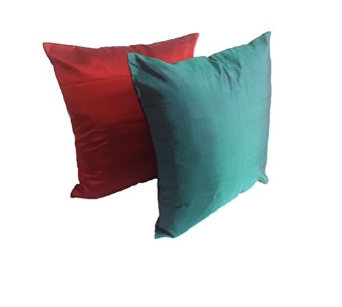 Lotus House Red & Green Silk Pillow Case Set by Lotus House