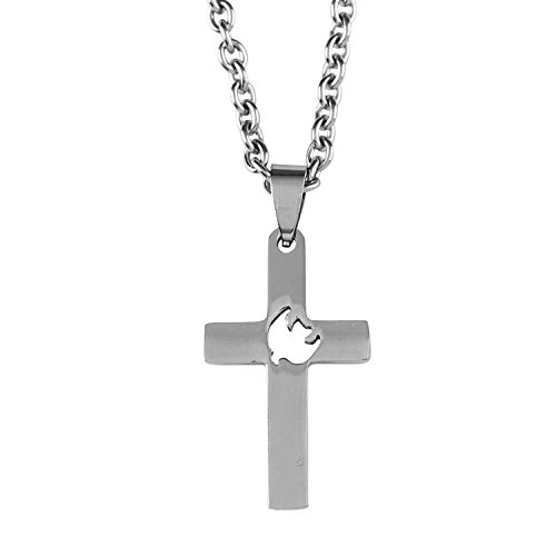 Descending Dove Stainless Steel Silver Cross 24 inch Chain Pendant Necklace
