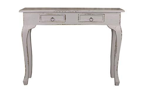 Sunset Trading CC-TAB2276LD-AG Shabby Chic Cottage Table Two Drawer Antique Gray