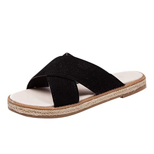 (JOYFEEL  Women's Open Toe Criss-Cross Slip on Beach Slippers Roman Suede Leather Sole Low Flat Sandal Platform Shoes Black)