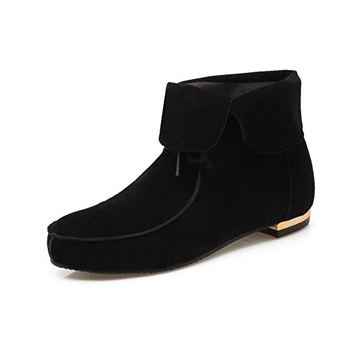 Allhqfashion Women's Low Heels Top Solid Low Toe Black Frosted Boots Round Closed ffqUydrwH