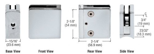 (CRL Z606SC Satin Chrome Z-Series Square Type Radius Base Zinc Clamp for 1/4